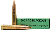 Sellier & Bellot 300 AAC Blackout 147gr FMJ Ammo - 20 Rounds