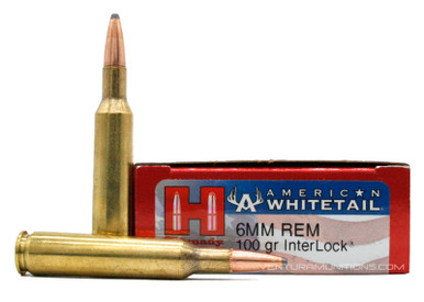 Hornady American Whitetail 6mm Remington 100gr Interlock Ammo - 20 Rounds