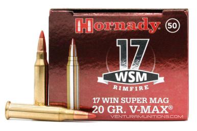 Hornady 17 Winchester Super Magnum 20gr V Max Ammo 50