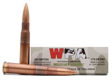 Wolf Military Classic 303 British 174gr FMJ Ammo - 20 Rounds