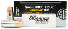 Sig Sauer Elite Performance 9mm 115gr V-Crown JHP Ammo - 20 Rounds