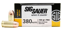 Sig Sauer Elite Performance 380 ACP 100gr Ball FMJ Ammo - 50 Rounds