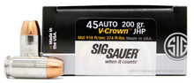 Sig Sauer Elite Performance 45 ACP 200gr V-Crown JHP Ammo - 20 Rounds