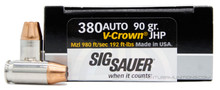 Sig Sauer Elite Performance 380 ACP 90gr V-Crown JHP Ammo - 20 Rounds