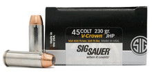 Sig Sauer Elite Performance 45 Long Colt 230gr V-Crown JHP Ammo - 20 Rounds