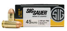 Sig Sauer Elite Performance 45 ACP 230gr Ball FMJ Ammo - 50 Rounds