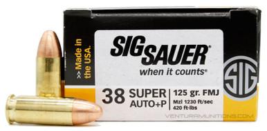 Sig Sauer Elite Performance .38 Super 125gr Ball FMJ +P Ammo - 50 Rounds