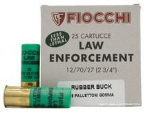 "Fiocchi 12 Gauge 2.75"" 00 Rubber Buckshot 15 Pellet Ammo - 25 Rounds"