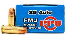 Prvi Partizan 25 ACP 50gr FMJ Ammo - 50 Rounds