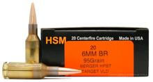 HSM 6mm BR 95gr Match Target VLD HPBT Ammo - 20 Rounds