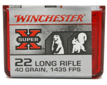 Winchester Super X 22 Long Rifle 40gr CPHP Ammo - 100 Rounds