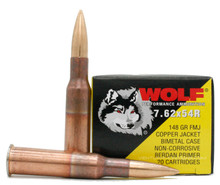 Wolf 7.62x54R 148gr Copper FMJ Ammo - 20 Rounds