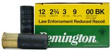 "Remington LE 12ga 2 3/4"" 9 Pellet 00 Buck Reduced Recoil Ammo - 25 Rounds"