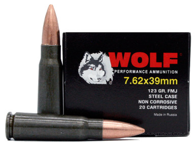 Wolf 7.62x39 123gr Lacquer Coated FMJ Ammo - 20 Rounds