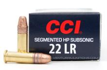 CCI Quik Shok 22LR 40gr Segmented Subsonic HP Ammo - 50 Rounds