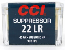 CCI Suppressor 22LR 45gr Subsonic HP Ammo - 50 Rounds
