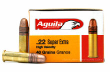 Aguila SuperExtra 22LR 40gr HV Plated Lead RN Ammo - 50 Rounds