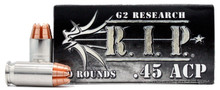G2 Research RIP 45 ACP 162gr Copper LF HP Ammo - 20 Rounds