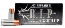 G2 Research RIP 380 ACP 62gr Copper LF HP Ammo - 20 Rounds