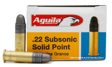 Aguila 22LR 40gr SubSonic Solid Point RN Ammo - 50 Rounds