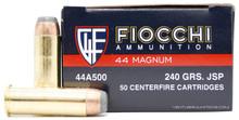 Fiocchi 44 Magnum 240gr JSP Ammo - 50 Rounds