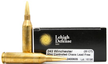 Lehigh Defense 243 Winchester 60gr HV Controlled Chaos Ammo - 20 Rounds