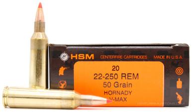 HSM 22-250 Remington 50gr V-Max Ammo - 20 Rounds