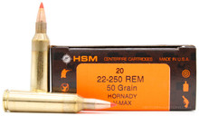 HSM 22-250 Remington 50gr V-Max Ammo - 20 Rounds