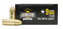 Armscor 9mm 115gr FMJ Ammo - 50 Rounds
