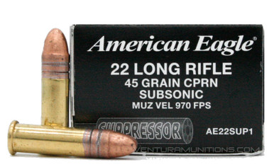 American Eagle 22 LR 45gr Copper Plated RN Suppressor Ammo - 50 Rounds