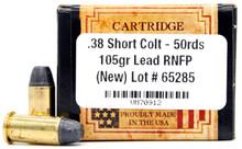 Ventura Heritage 38 Short Colt 105gr RNFP Ammo - 50 Rounds