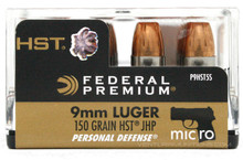 Federal Permium 9mm 150gr HST Mirco JHP Ammo - 20 Rounds