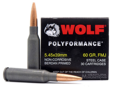 Wolf Polyformance 5.45x39mm 60gr FMJ Non-Corrosive Ammo - 750 Rounds