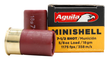 "Aguila 12ga 1.75"" 5/8oz #7.5 lead Shot Minishell Shotshell Ammo - 20 Rounds"