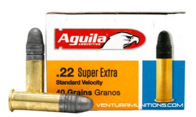 Aguila Super Extra 22LR 40gr Standard Velocity LRN Ammo - 50 Rounds