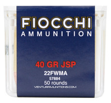 Fiocchi 22 Win Mag 40gr JSP Ammo - 50 Rounds
