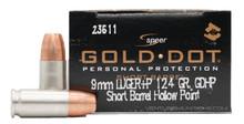 Speer Gold Dot 9mm +P 124gr Short Barrel HP Ammo - 20 Rounds