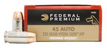 Federal Premium LE 45ACP 230gr Hydra-Shok JHP Ammo - 20 Rounds
