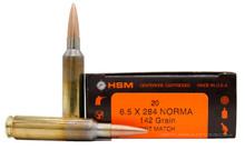 HSM 6.5x284 Norma 142gr HPBT Match Ammo - 20 Rounds