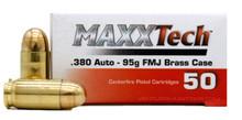 MAXXTech 380 ACP 95gr FMJ Ammo - 50 Rounds
