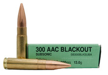 Sellier & Bellot 300 AAC Blackout 200gr Subsonic FMJ Ammo - 20 Rounds