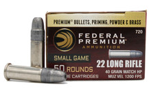Federal Premium 22LR 40gr Hunter Match HP Ammo - 50 Rounds