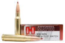 Hornady Superformance 308 Win 168gr ELD Match Ammo - 20 Rounds