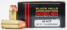 Black Hills 45 ACP 135gr HoneyBadger Ammo - 20 Rounds