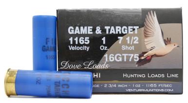 """Fiocchi Dove Loads 16ga 2.75"""" 1oz #7.5 Shot Lead Ammo - 25 Rounds"""