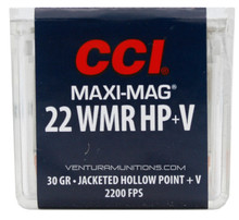 CCI Maxi-Mag 22WMR 30gr JHP +V Ammo - 50 Rounds