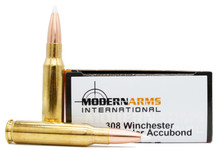 Modern Arms 308 Win 165gr Accubond Match Ammo - 20 Rounds