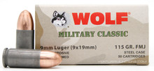 Wolf Military Classic 9mm 115gr FMJ Ammo - 50 Rounds