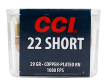 CCI 22 Short 29gr Copper-Plated RN HV Ammo - 100 Rounds