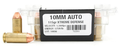Ventura Tactical 10mm 115gr Xtreme Defense Ammo - 20 Rounds